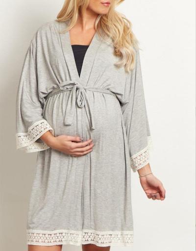Autumn New Women Lady Pregnant Maternity Robes Pajamas Nightdress Nurse Soft Sleepwear