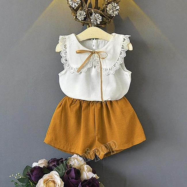 2020 girl suit summer new doll collar sleeveless vest shorts two sets