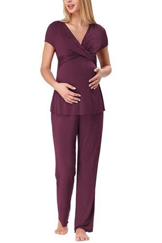 Women Maternity Short Sleeve Nursing Baby  Pajamas Set