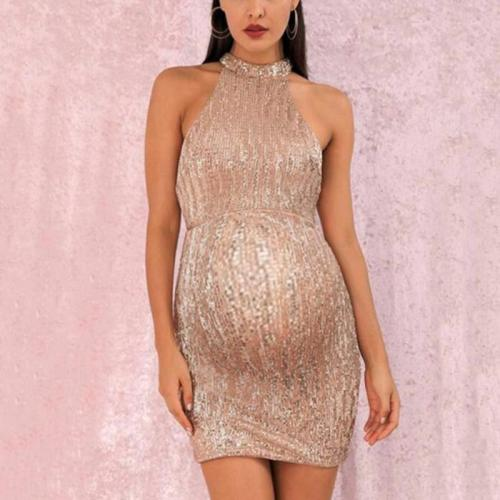 Maternity Fashion Halter Sleeveless Slim Dress