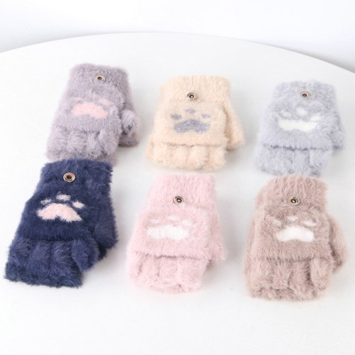 Toddler Baby Winter Warm Knit Heart Fleece Mittens Gloves