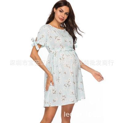 Summer dress new short-sleeved top in long trendy mom summer pregnant dress