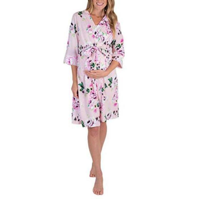Maternity Floral Print 3/4 Sleeve Pajamas Casual Dress