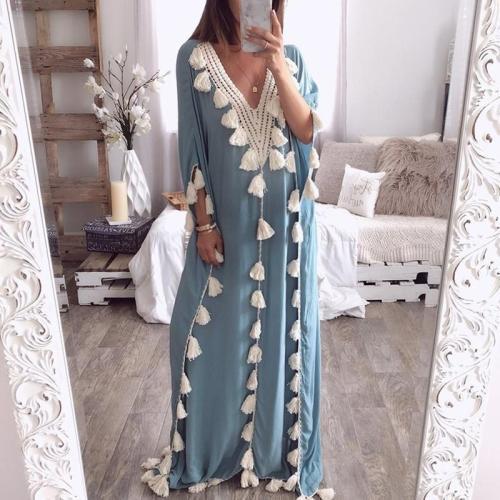 Maternity Fashion V-Neck Tassel Stitching Dress