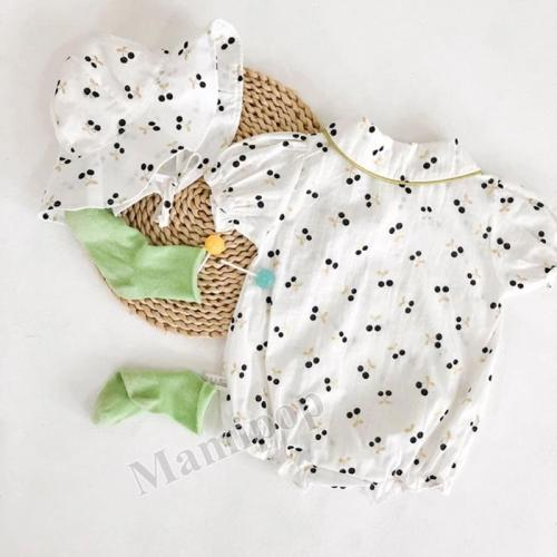 Infant Jumpsuit baby Hot Gold Cherry Bamboo Knot Cotton Short-sleeved Climbing Clothes