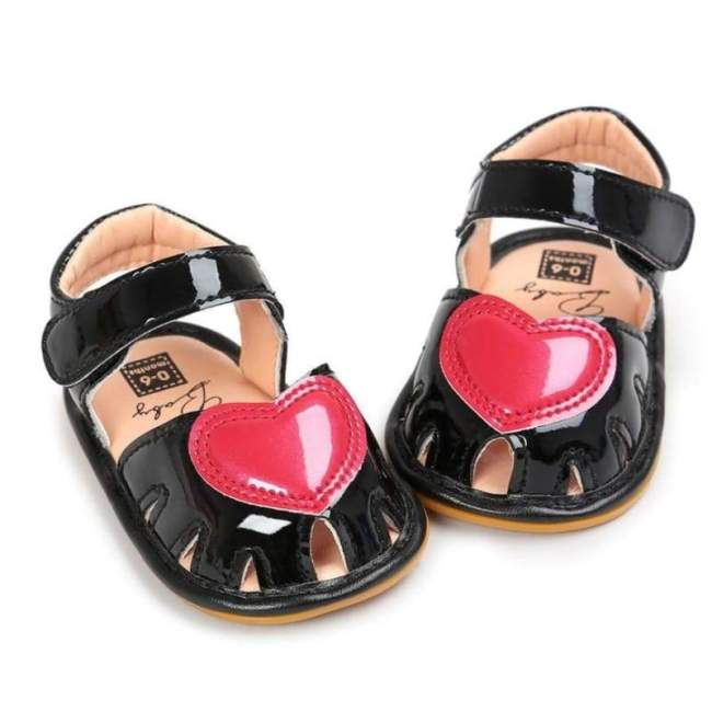 Summer Heart Princess Cute Faux Leather Baby Sandals