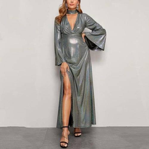 Maternity Sexy Triangle V-neck Flared Sleeve Split Evening Dress