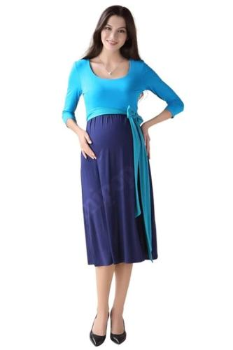 Women's Wrap Maternity Dress with Adjustable Waist Tie
