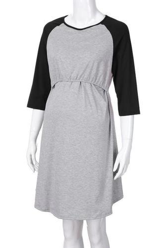 Maternity 3/4 Sleeve Nursing & Feeding Dress