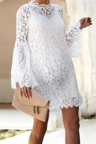 Maternity Short High Collar Flared Sleeve Vest Two-Piece Lace Short Dress