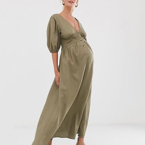 Maternity Casual V Neck Pure Colour Maxi Dress