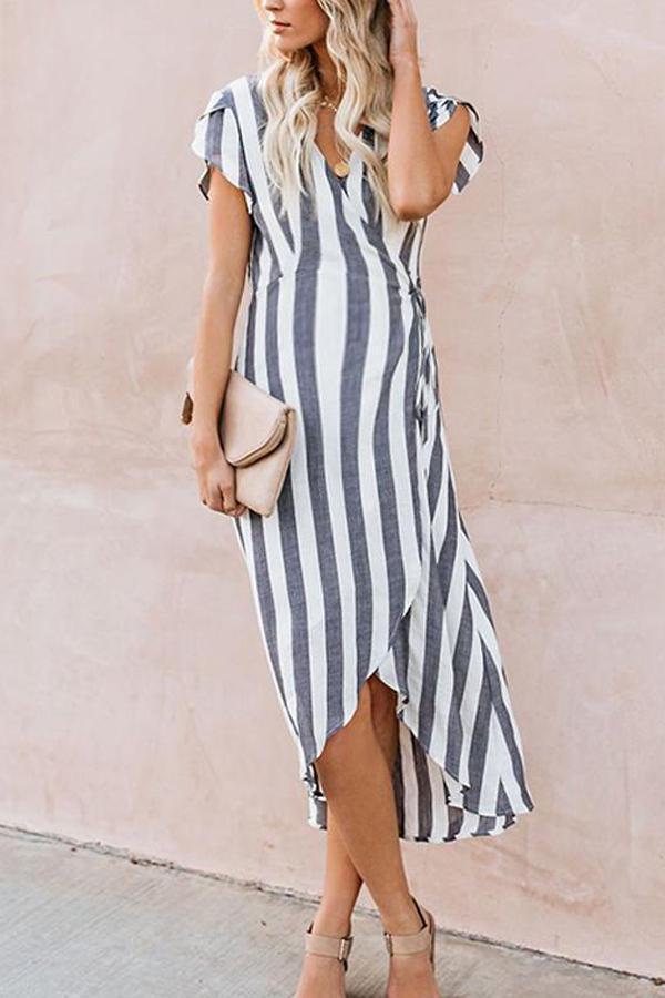 Maternity Stripe Tie Daily Dress