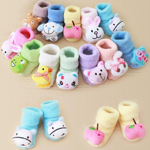Cartoon Baby Girls Boys Socks Fashion Newborn Kids Baby Girls Boys No Slip Warm Socks