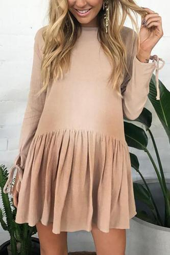 Maternity Long Sleeve Round Neck Dress