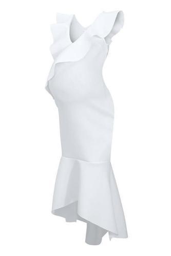 Deep V-Neck Flounce Plain High-Low Mermaid Evening Dress