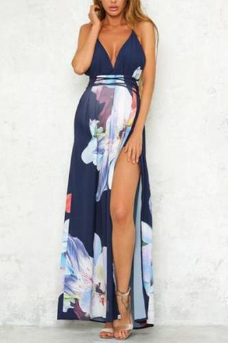 Maternity Printed Sling Open Back Slit Dress