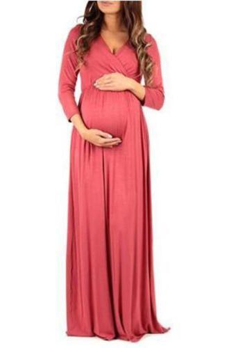Maternity Solid Color Long Sleeve Full Length Dress