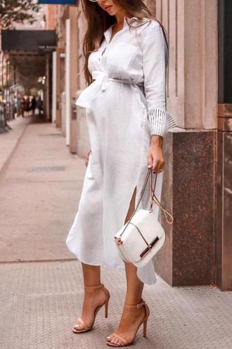 Maternity Solid Color V-Neck Long Sleeve Midi Dress