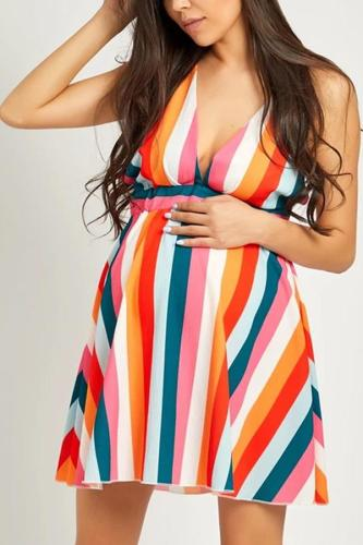 Maternity Spaghetti Strap Backless Striped Skater Dresses