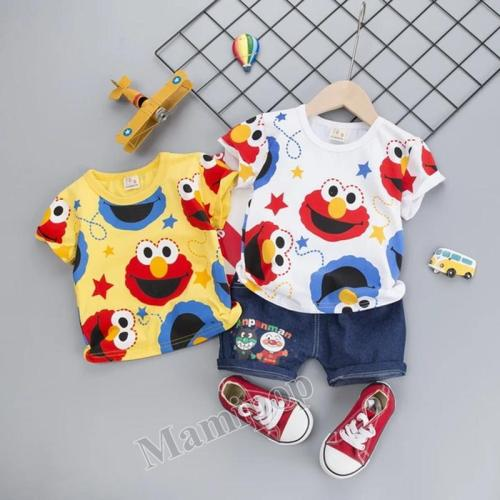 children's short sleeve clothing summer new 0-1-2-3-4-year-old cartoon pattern two-piece set