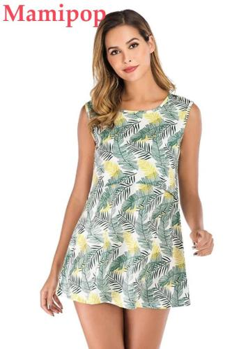 Fashion Maternity Print Round Neck Sleeveless Mini Dress Clothes