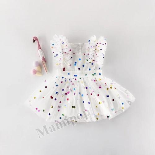 Summer Girls Baby 100-day Hot Stamping Mesh Cotton Triangle ha Dress