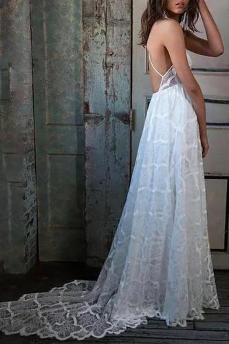 Maternity Halter Backless Lace Wedding Dress
