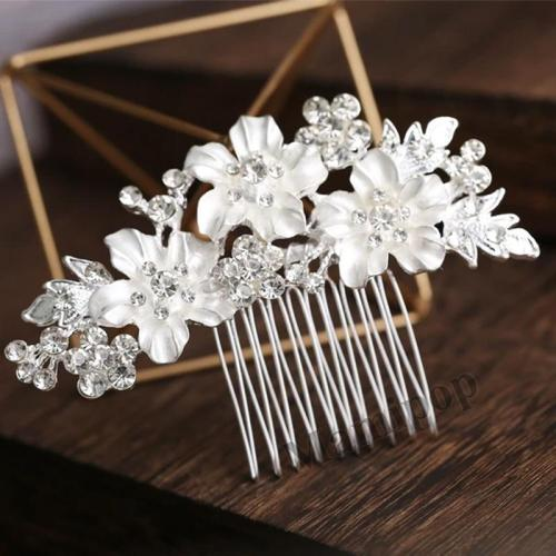 New Fashion Bride Headpiece Headwear Handmade Rhinestone Insert Hair Comb