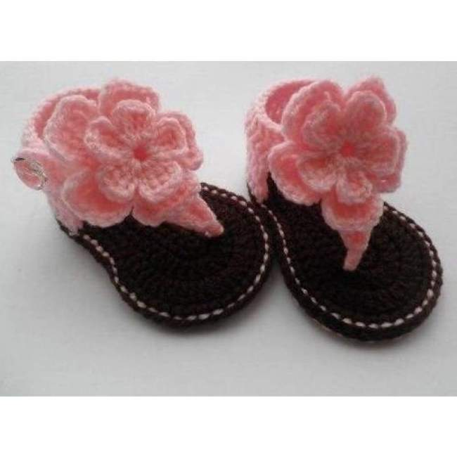 Crochet Hibiscus Flower Sandals Coral Baby Shoes