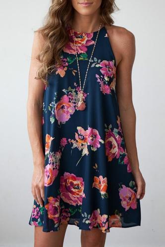 Floral Print Sleeveless Short Dress