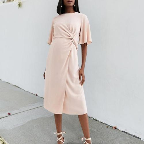 Maternity Casual Round Neck Short Sleeve Solid Color Dress
