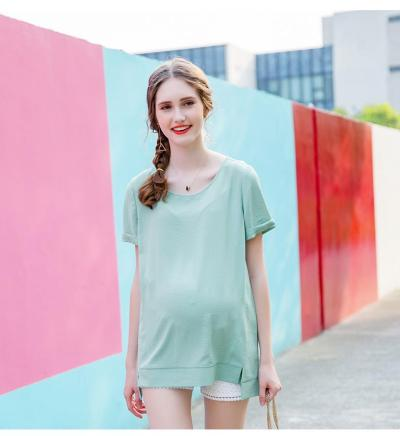 Summer Maternity Shirt Chiffon Shirt Loose Pregnancy Clothes T shirt
