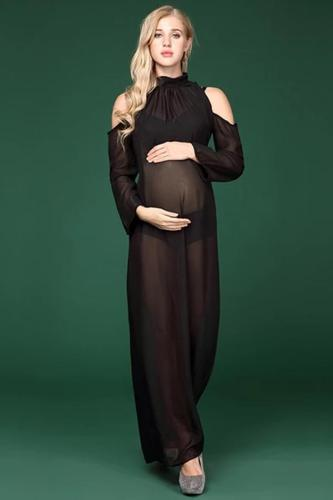 Black Long Sleeve Chiffon Dresses For Pregnant Women Photo Clothes