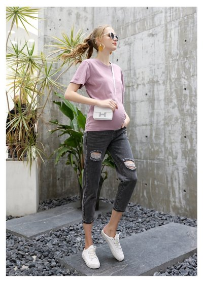 Summer Candy Color Pregnant T-Shirt Maternity Clothes Loose Top