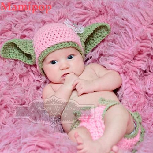 Newborn Girls Baby Yoda Costume Infant Crochet Yoda Photography