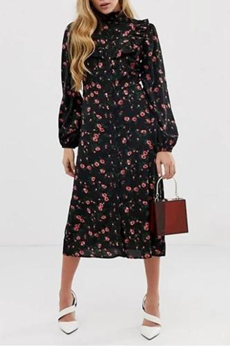 Maternity Casual Stand-Up Lace Single-Breasted Floral Print Long-Sleeved Dress