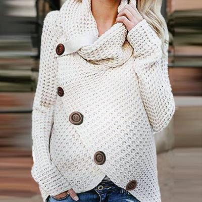 Maternity High Neck Pure Color Button Sweater