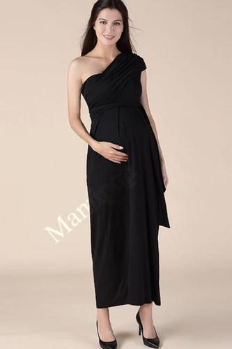 Summer Oblique Shoulderless Maternity Maxi Dress