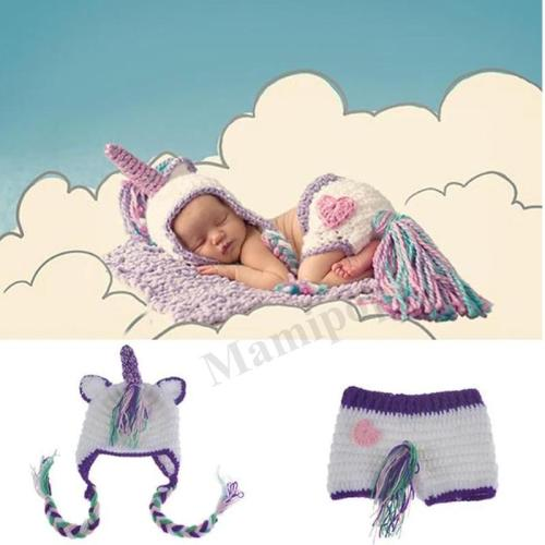 Crochet Newborn Baby Unicorn Photo Fotografia Props