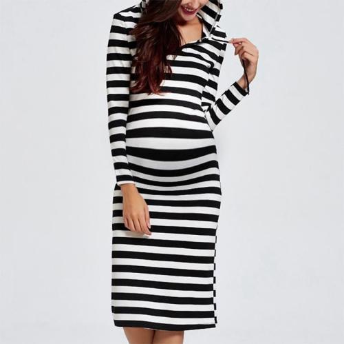Maternity Fashion Striped Long Sleeve Dress