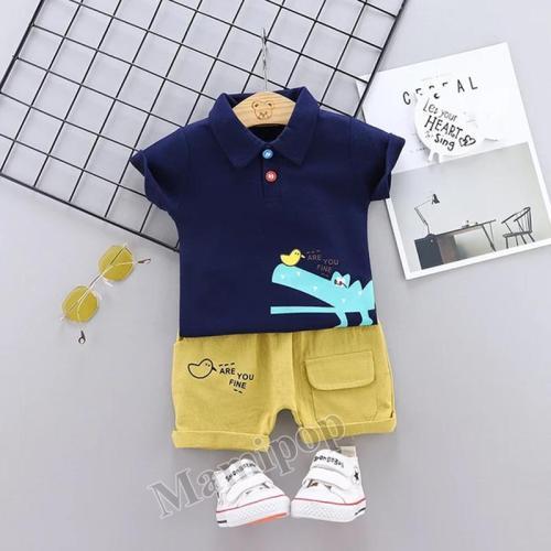 2020 baby summer new cartoon crocodile lapel short sleeve T-shirt two-piece Set
