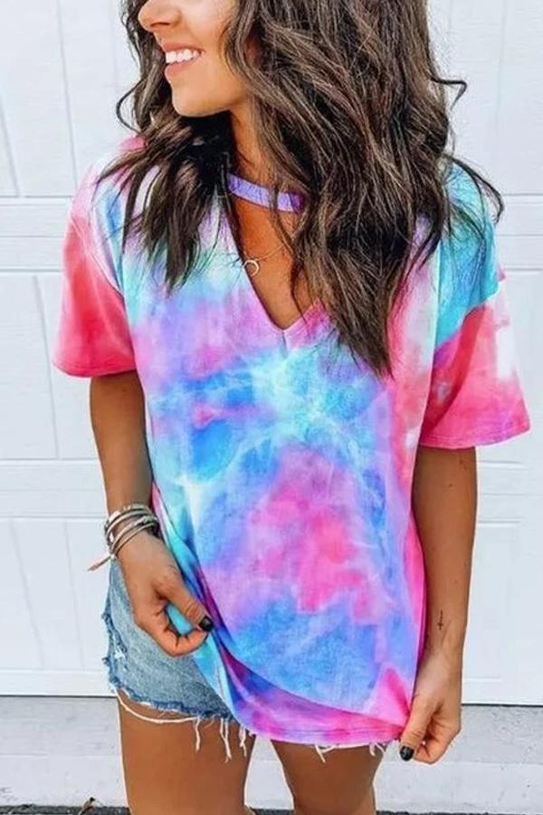 Maternity V-Neck Tie Dye Print T-Shirt