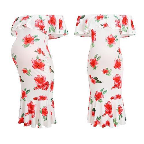 Maternity Ruffle White Floral Print Slash Neck Dress