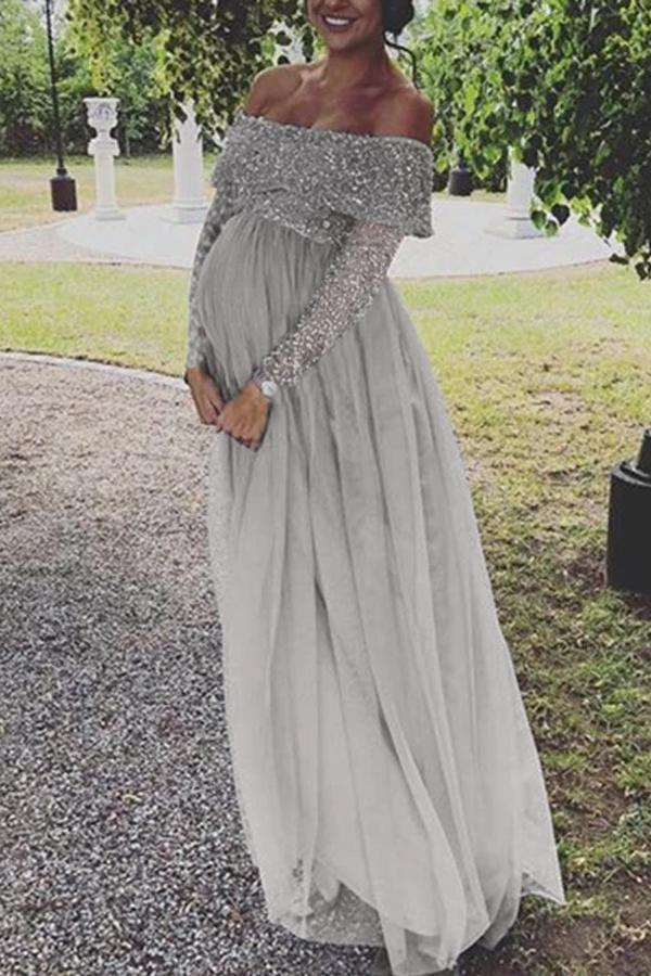 Maternity Sequin Decorated Top Tulle Detail Long Sleeve Dress