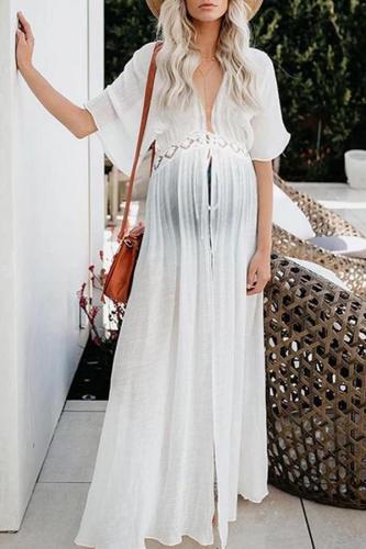 Maternity V-Neck Plain Lace Patchwork Loose Beach Maxi Dress