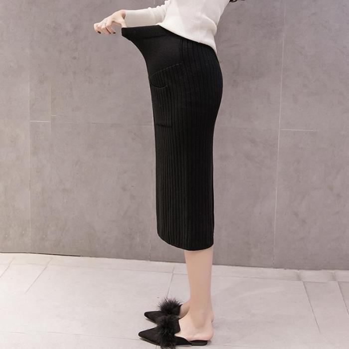 Maternity Casual Patch Pocket Knit Thicken Skirt