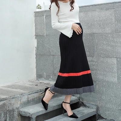 Maternity Casual Contrast Colour Pleated Skirt
