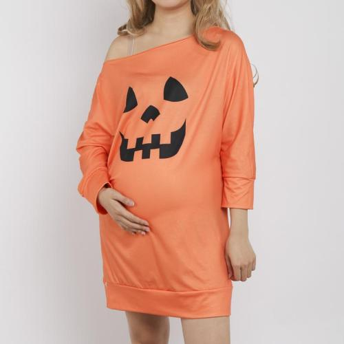 Maternity Off Shoulder Halloween Pumpkin Print Loose Mini Dress