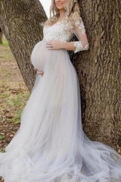 Maternity Elegant Lace Round Neck Dress
