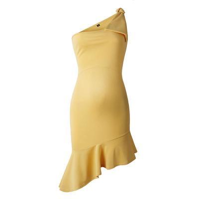 Maternity Sexy One Shoulder Plain Asymmetric Ruffle Formal Dress